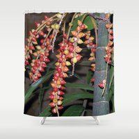 indonesia Shower Curtains featuring coffee plant (Bali, Indonesia) by Christian Haberäcker - acryl abstract