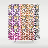 returns Shower Curtains featuring the cat returns  by grapeloverarts
