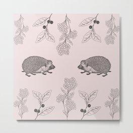 Beautiful vintage style pink hedgehog pattern Metal Print