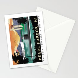 Pearl Harbor, HI - Retro Submarine Travel Poster Stationery Cards