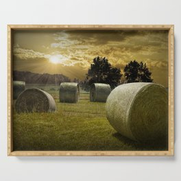 Farm Field with Hay Bales at Sunrise in West Michigan Serving Tray