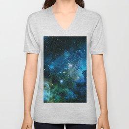 Carina Nebula Blue Turquoise Teal Green Unisex V-Neck