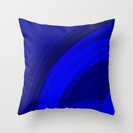 Semicircular sections of blue metal with rays of light and strings. Throw Pillow