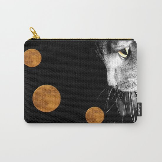 Silver Cat and Moon Carry-All Pouch