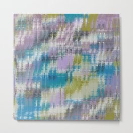 psychedelic geometric abstract pattern in blue green purple Metal Print
