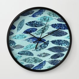 Blue Aqua Glamorous Mermaid Feathers Wall Clock