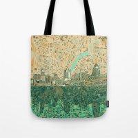 cincinnati Tote Bags featuring cincinnati city skyline by Bekim ART