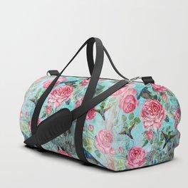 Vintage Watercolor hummingbird and English Roses Duffle Bag