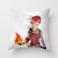 borderlands Throw Pillows featuring Lilith by Melissa Smith