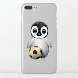 Cute Baby Penguin With Football Soccer Ball Clear iPhone Case