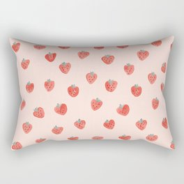 Strawberries on Pink Rectangular Pillow