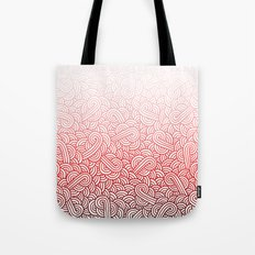 Gradient red and white swirls doodles Tote Bag