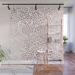 Elegant chic faux rose gold modern brushstrokes Wall Mural