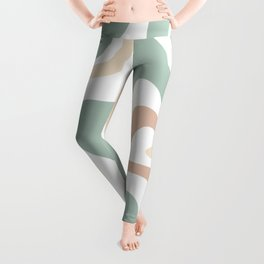 Liquid Swirl Abstract Pattern in Celadon Sage Leggings