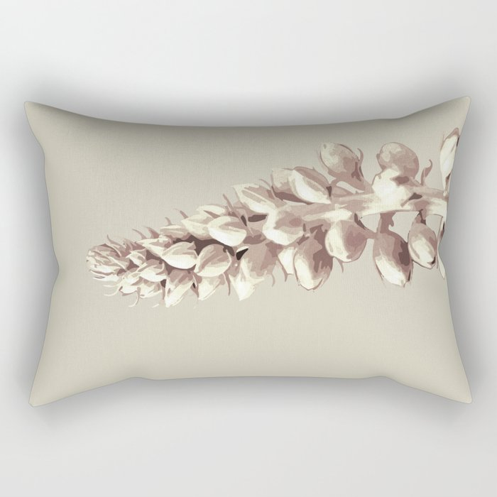 Pink and Grey Plant Art Rectangular Pillow