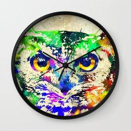 Owl Watercolor Grunge Wall Clock