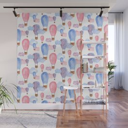 Watercolor air balloon. Pink and blue baby pattern. Nursery illustration. Kids art Wall Mural