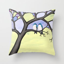 tree swallows in the stained glass tree Throw Pillow