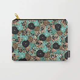 Black Brown and Teal Watercolor Floral Carry-All Pouch