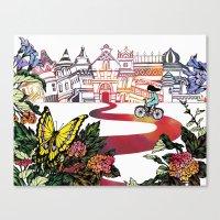 cycling Canvas Prints featuring Summer Cycling by Natsuki Otani