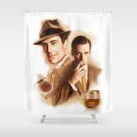 mad men Shower Curtains featuring MAD MEN DON DRAPER by TOXIC RETRO