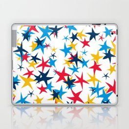 Red white and blue stars with a pop of yellow Laptop & iPad Skin
