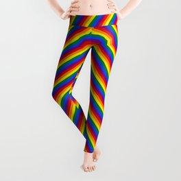 Gay Pride Flag Rainbow Chevron Stripe Leggings