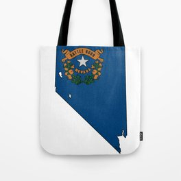 Nevada Map with State Flag Tote Bag