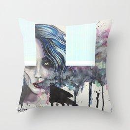 Smoke Girl Throw Pillow