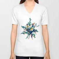 cracked V-neck T-shirts featuring Cracked I by AJJ ▲ Angela Jane Johnston