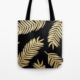 Gold Glitter Palms  |  Black Background Tote Bag