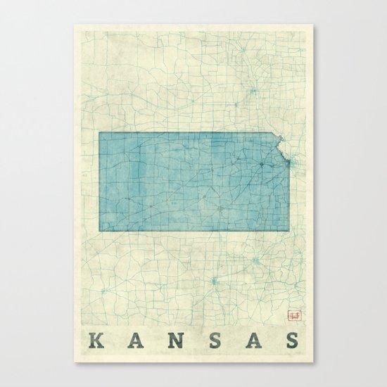 Kansas State Map Blue Vintage Canvas Print