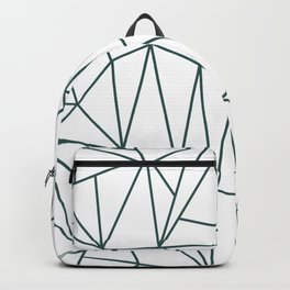 Geometric Cobweb (Dark Green & White Pattern) Backpack