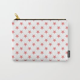 Coral Pink on White Stars Carry-All Pouch
