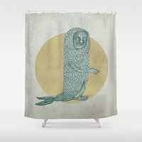 onesie Shower Curtains featuring Fish by BLEH collective