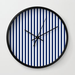 Small Vertical Navy Stripes Wall Clock