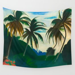 Tropical Scene with Palms and Flowers by Joseph Stella Wall Tapestry