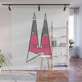 Magenta cat Wall Mural