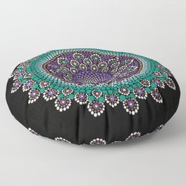 Purple and Teal Mandala Floor Pillow