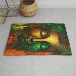 Abstract Lord Buddha Face Rug