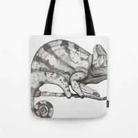 chameleon Tote Bags featuring Chameleon by Pris Roos