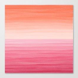 Orange Sunset on Pink Ocean Minimalist Painting Canvas Print
