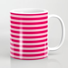Retro, Beach, Colorful Stripes, Pink and Red Coffee Mug
