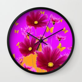 DECORATIVE YELLOW BUTTERFLIES & FUCHSIA PURPLE SPRING FLOWERS GARDEN ART Wall Clock