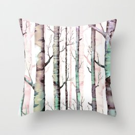 Birch Tree Forest Throw Pillow