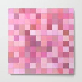 Lovely Pink Geometric Squares Pattern Metal Print