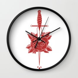 Dagger in Rose (Red) Wall Clock