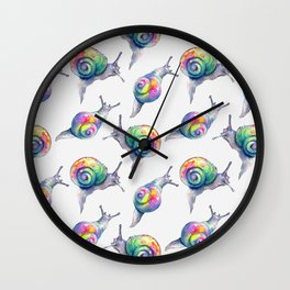 Rainbow Crystal Clear Snails Wall Clock
