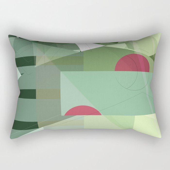 Geometric abstract green No. 1 Rectangular Pillow