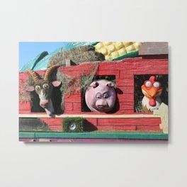 Barnyard Float-Goat, Pig, & Chicken Metal Print
